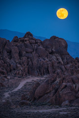 Moon Rising over the Alabama Hills California Vertical Composition