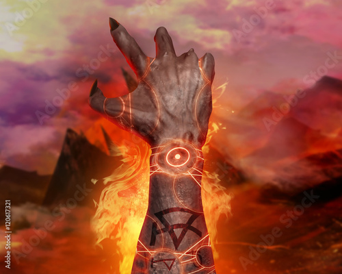 3d illustration of a first person demon hand magic 3d first person 3d illustration of a first person demon hand magic 3d first person view artwork of voltagebd Images