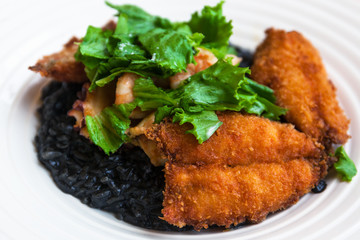 black rice and fried fish