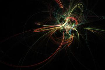 Abstract black, blue, red and gold fractal. Fractal art background for creative design. Decoration for wallpaper desktop,