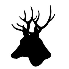 deer head vector illustration black silhouette