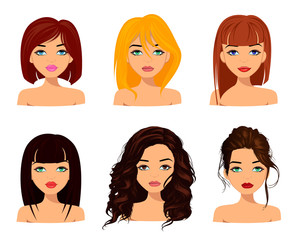 Young pretty women with cute faces, fashionable hairstyles and beautiful eyes. Vector editable