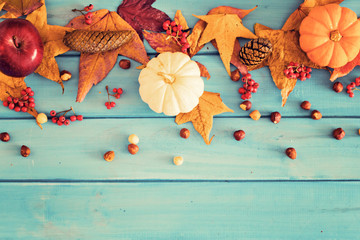 Pumpkins, apple and hazelnuts over autumn leafs