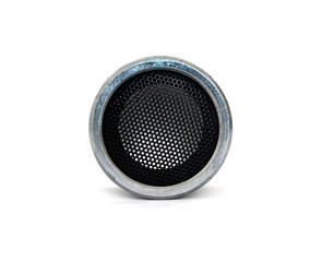 old silver bluetooth loudspeaker - isolated on white background