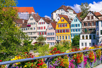 Fototapete - Floral colorful town Tubingen in Germany (Baden-Wurttemberg)