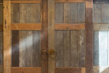 Old vintage folding wooden door