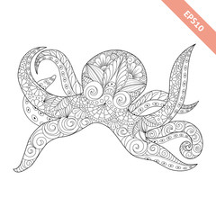 Vector illustration cartoon octopus with floral doodle ornament. Design for coloring book page. Decorative element