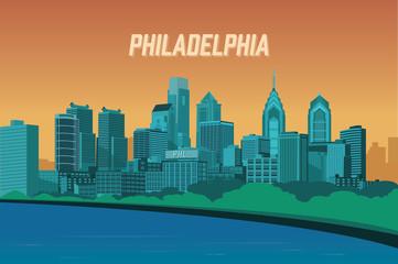 Philadelphia Vintage Inspired Skyline