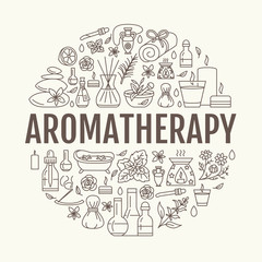 Aromatherapy and essential oils circle template. Vector line illustration of aromatherapy diffuser, oil burner, spa candles, incense sticks, herbal bag massage. Essential oils poster
