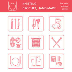Modern vector line icons set of knitting and crochet. Hand made elements: yarn, knitting needle, knitting hook, pin and others. Outline knitting symbol collection for invitations, notes, sites, banner