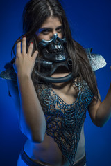 dress, girl with iron armor and metal skull, sensual dark and da