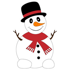 Illustration of a funny snowman with black hat on a white background