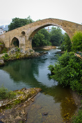 Old Roman stone bridge in Cangas de Onis in Asturias, Spain
