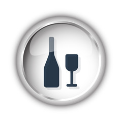 Web button with black Wine icon on white background