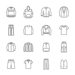 Wall Mural - Men clothing icons in thin line style vector