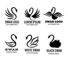 Wall Mural - Swan logo set black logotypes vector