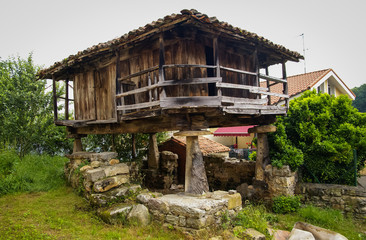 Typical Asturian granary in Cangas de Onis, Spain
