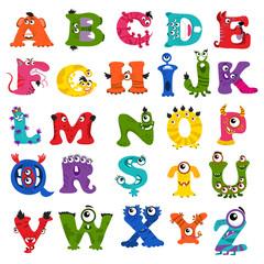 Funny vector monster alphabet for kids
