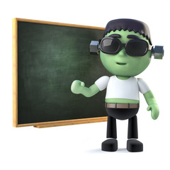 3d Child frankenstein monster at the blackboard