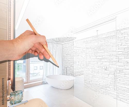 entwurf badezimmer mit freistehender wanne und begehbarer dusche stockfotos und lizenzfreie. Black Bedroom Furniture Sets. Home Design Ideas