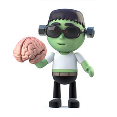 3d Child frankenstein monster holding a brain