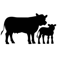 Cow and Calf Silhouette
