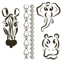 Set of African animals and stylized ornaments.