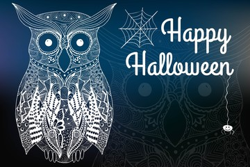 Halloween night, blurred background. Happy halloween card. Hand drawn owl.