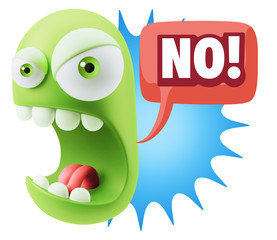 Keuken foto achterwand Draw 3d Rendering Angry Character Emoji saying No with Colorful Speec