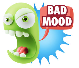 Keuken foto achterwand Draw 3d Rendering Angry Character Emoji saying Bad Mood with Colorful