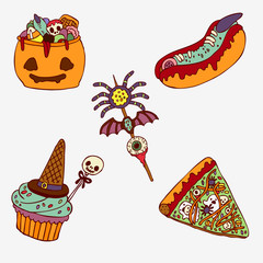 Set of sweets and pastries on Halloween. Holiday food. Scary card.