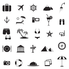 Travel and vacation icons set, black isolated on white background, vector illustration.
