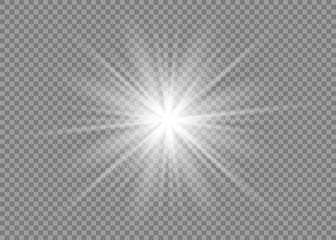 Glow light effect. Star burst with sparkles