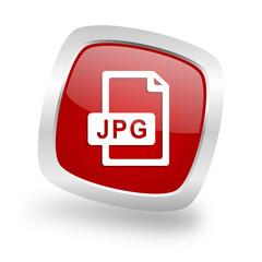 jpg file square red glossy chrome silver metallic web icon