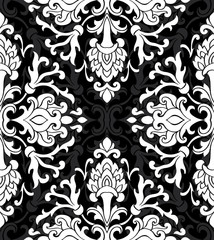 Floral black and white ornament.
