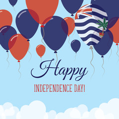 British Indian Ocean Territory Independence Day Flat Greeting Card. Flying Rubber Balloons in Colors of the Indian Flag. Happy National Day Vector Illustration.