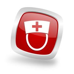 nurse square red glossy chrome silver metallic web icon