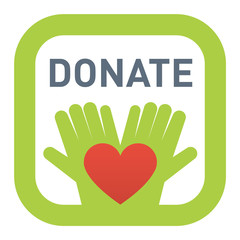 Donate button vector icon