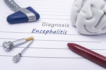 Figure of human brain, blue neurological reflex hammer, neurological needle and brush for test sensitivity and ballpoint pen lie on a paper form with a medical diagnosis of Encephalitis