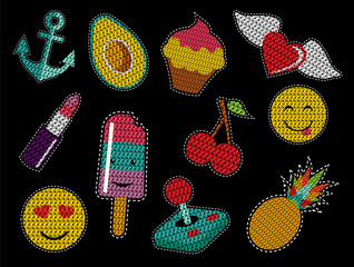Set of cute sequin pop art retro patch icons