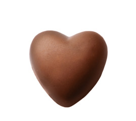 Chocolate heart on a white background