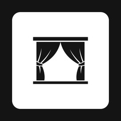 Stage curtains icon in simple style on a white background vector illustration