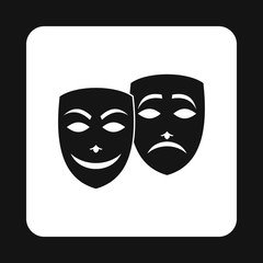 Comedy and tragedy theatrical masks icon in simple style on a white background vector illustration