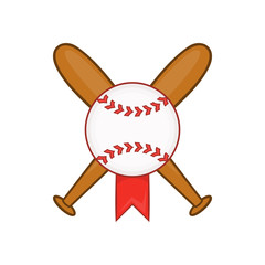 Baseball with bats icon in cartoon style isolated on white background vector illustration