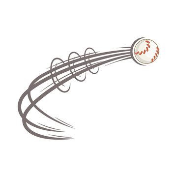 Baseball ball fly icon in cartoon style isolated on white background vector illustration