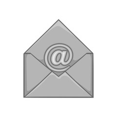 Email icon in black monochrome style isolated on white background. Letter symbol vector illustration