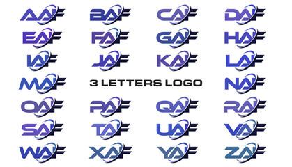 3 letters modern generic swoosh logo AAF, BAF, CAF, DAF, EAF, FAF, GAF, HAF, IAF, JAF, KAF, LAF, MAF, NAF, OAF, PAF, QAF, RAF, SAF, TAF, UAF, VAF, WAF, XAF, YAF, ZAF