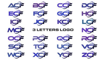 3 letters modern generic swoosh logo ACF, BCF, CCF, DCF, ECF, FCF, GCF, HCF, ICF, JCF, KCF, LCF, MCF, NCF, OCF, PCF, QCF, RCF, SCF, TCF, UCF, VCF, WCF, XCF, YCF, ZCF