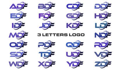 3 letters modern generic swoosh logo ADF, BDF, CDF, DDF, EDF, FDF, GDF, HDF, IDF, JDF, KDF, LDF, MDF, NDF, ODF, PDF, QDF, RDF, SDF, TDF, UF, VDF, WDF, XDF, YDF, ZDF