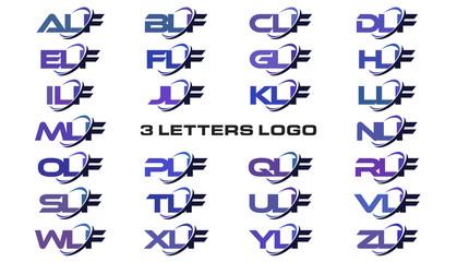 3 letters modern generic swoosh logo ALF, BLF, CLF, DLF, ELF, FLF, GLF, HLF, ILF, JLF, KLF, LLF, MLF, NLF, OLF, PLF, QLF, RLF, SLF, TLF, ULF, VLF, WLF, XLF, YLF, ZLF